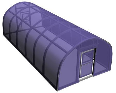 После укладки поликарбоната теплица должна иметь такой вид.